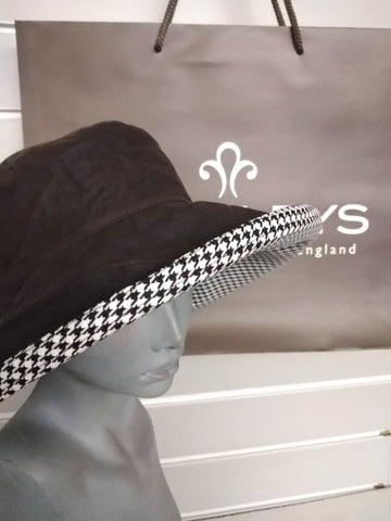 Heritage Waxed Houndstooth Hat, wide brim