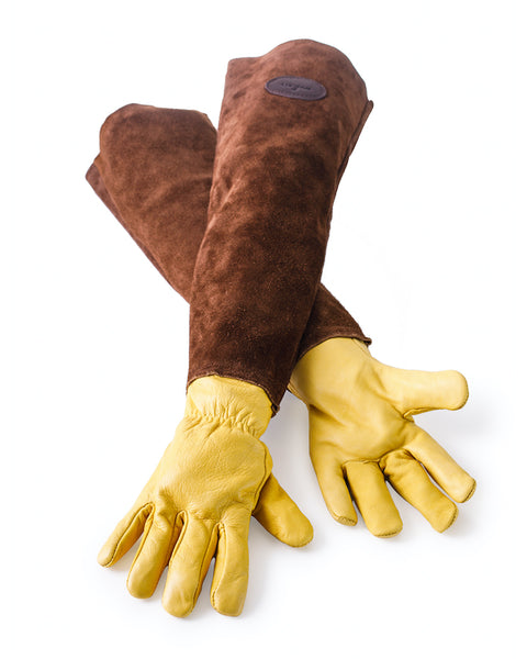 Bradleys the tannery long sleeve leather gardening gloves