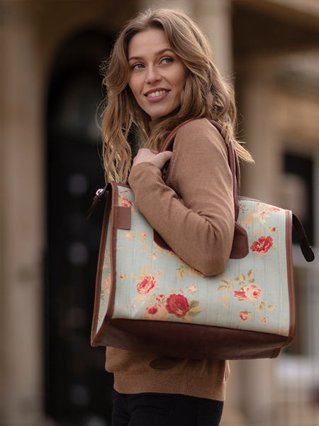 Bradleys English Rose Floral Structured Tote Bag