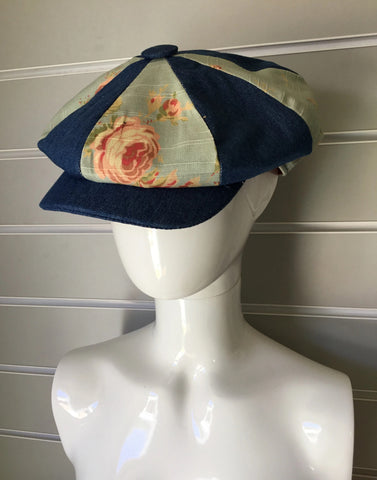 Denim and Blue Floral Breton Cap
