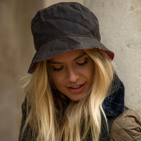 Waxed Cotton Bucket Union Jack Hat