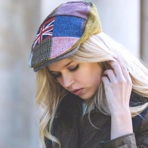 Tweed British Flag Patchwork Cap