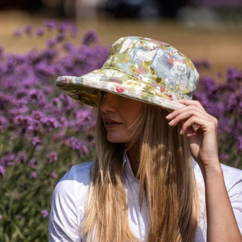Bradleys linen sun hat in abstract painterly print