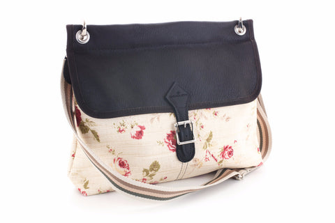 Handmade Floral linen and leather bag