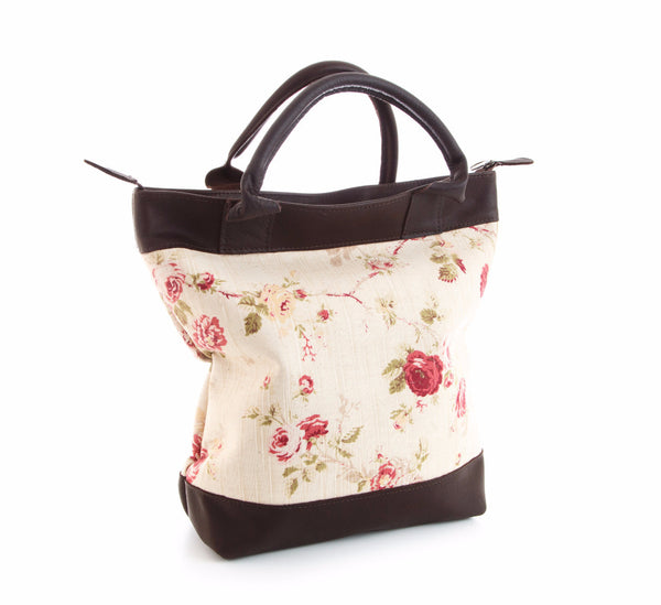 Floral Linen & Leather Tote Bag