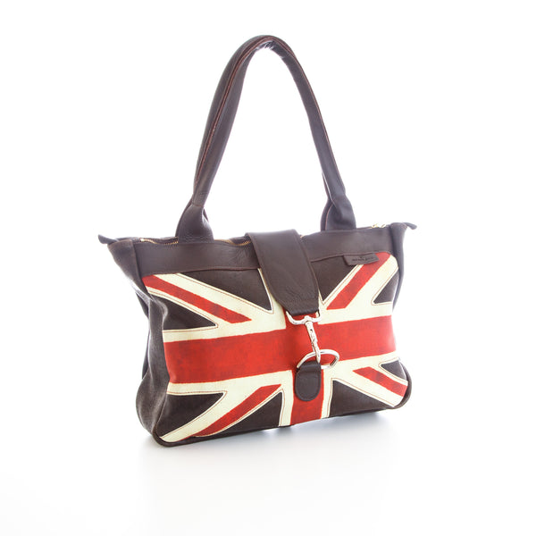 Handmade leather tote bag British