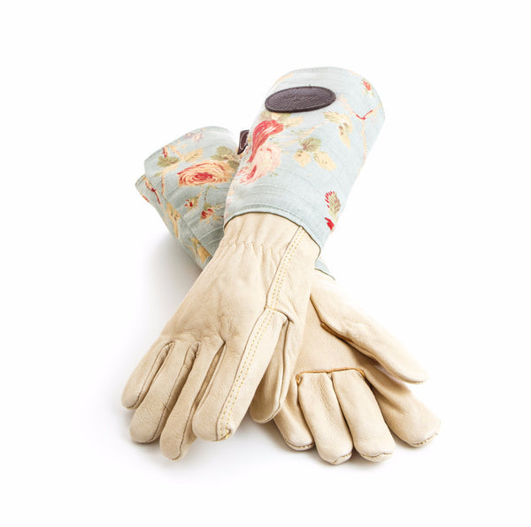 Floral leather gardening gloves