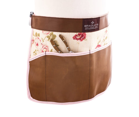 Ann Floral Leather Waist Apron