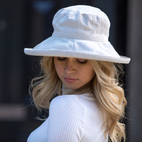 Natural Cream Linen Sun Hat