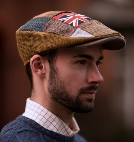 Flag & Tweed Unisex Patchwork  Flat Cap