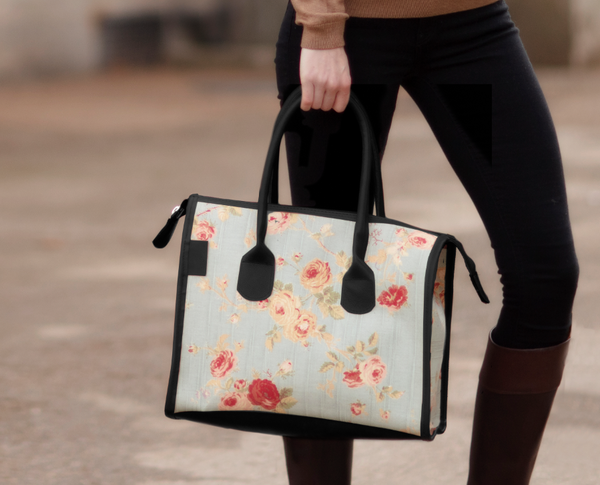 English Rose Floral Structured Tote Bag