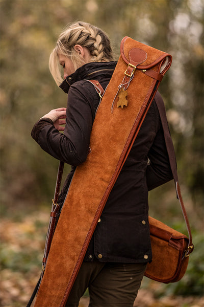 Heritage Tan Suede Leather Gun Bag - Bradleys The Tannery
