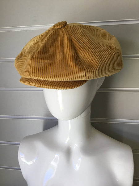 Tan Cord Baker-boy Cap