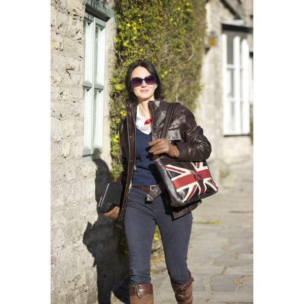 British Flag Tote Bag In English grain leather