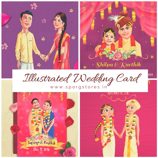Illustrated Caricature Wedding Invitation Sporg Stores