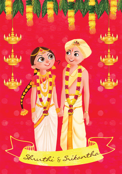 illustrated wedding invitation India""