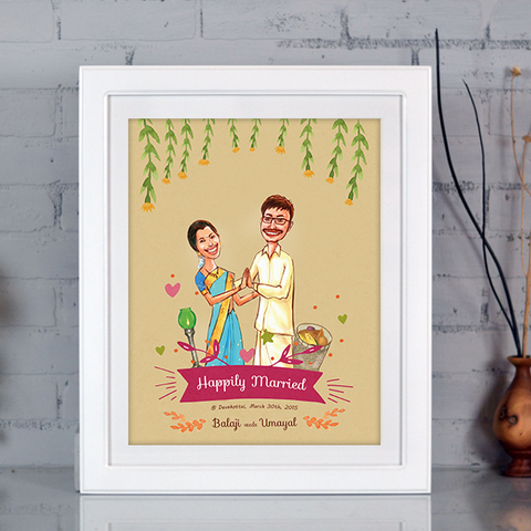 Caricature wedding invitation india