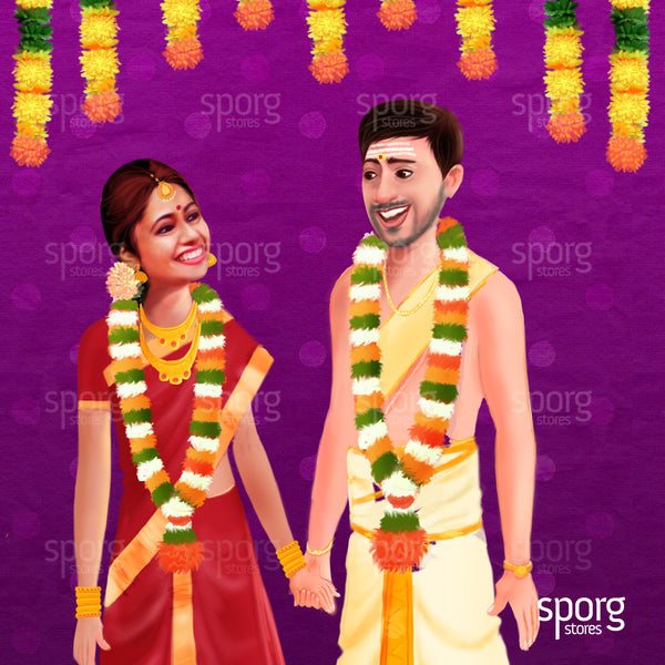 illustrated Indian wedding invitation design for tambram wedding
