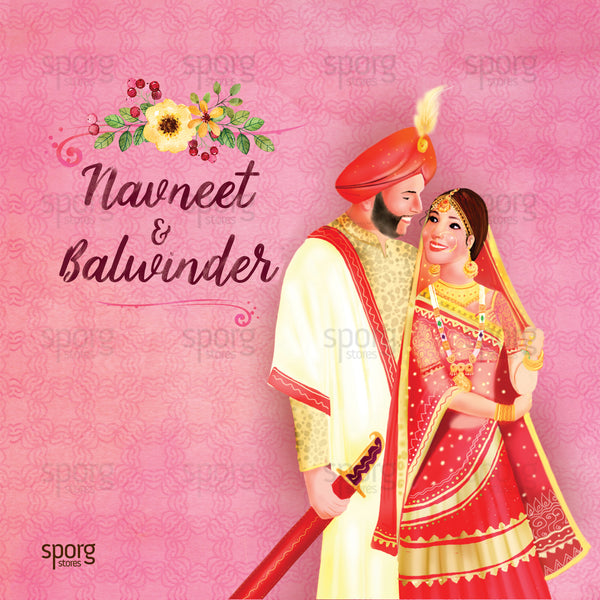 illustrated punjabi wedding invitation design - Indian wedding