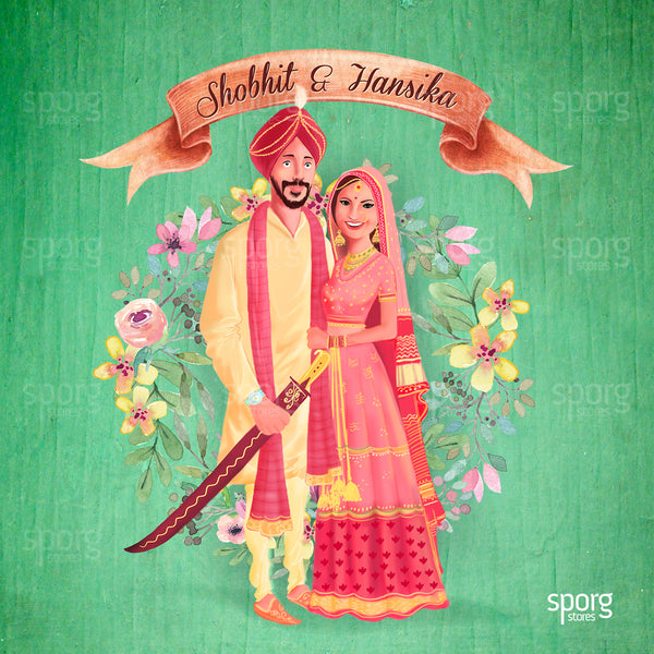illustrated punjabi wedding invitation design - sikh bride