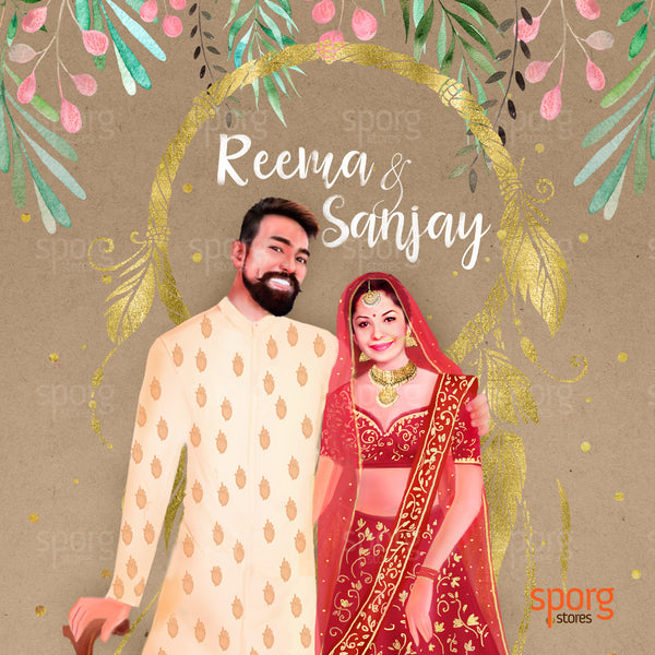 North Indian illustrated wedding illustration