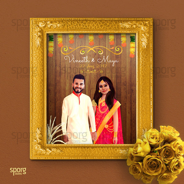 illustrated Indian wedding invitation design for Kerala wedding