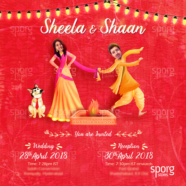 Quirky North Indian wedding invitation