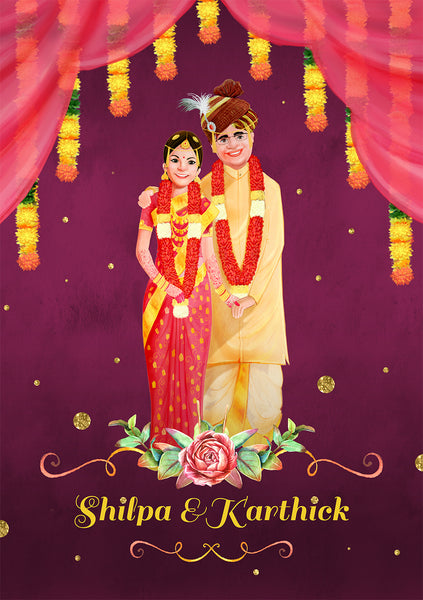 illustrated wedding invitation India