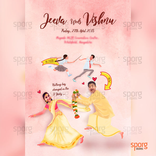 Funny creative south Indian wedding invitation