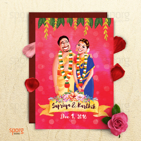 Caricature wedding Indian wedding card