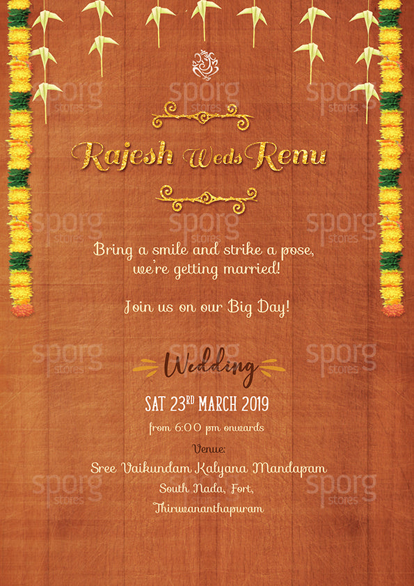 Illustrated Kerala Hindu Wedding invitation text