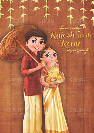 Illustrated Kerala Hindu Wedding invitation design