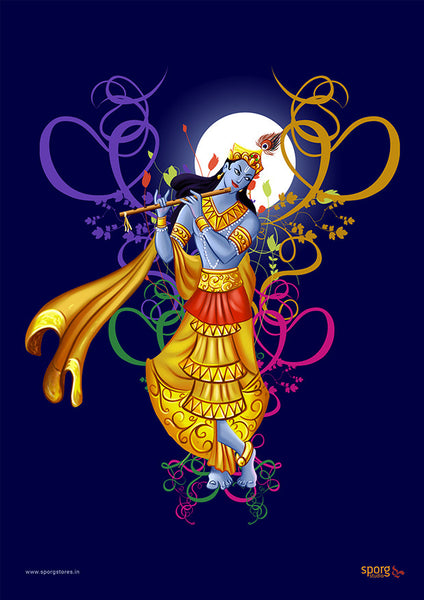 Krishna playing flute - Art Print India