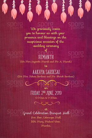 Buy illustrated wedding invitation design for Maharashtrian Hindu weddings online