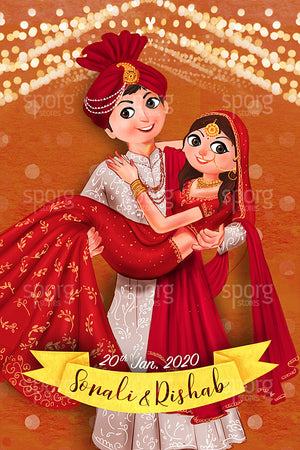 Illustrated North Indian Wedding Invitation
