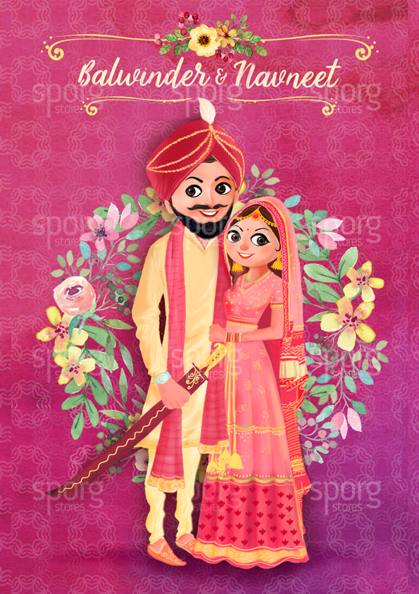 illustrated punjabi wedding invitation