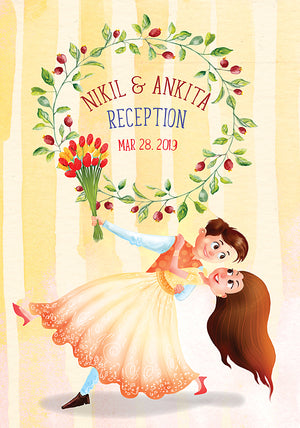 Illustrated Indian Wedding Sangeet Reception Invitation