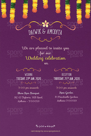 illustrated bengali wedding einvite