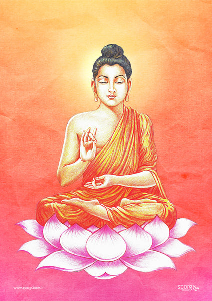 Lord Buddha meditating on lotus flower - Art Print India