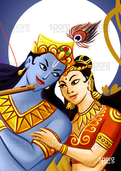 Art print poster of Krishna and Radha buy online from sporg stores.