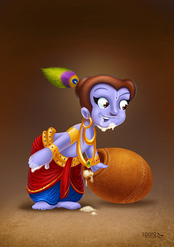 Little Krishna with butter pot Indian art print gift online