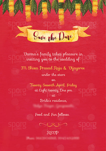 Illustrated Telugu Hindu Wedding Invitation