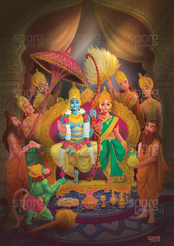 Sri Rama Pattabhishekam Art Print Poster India