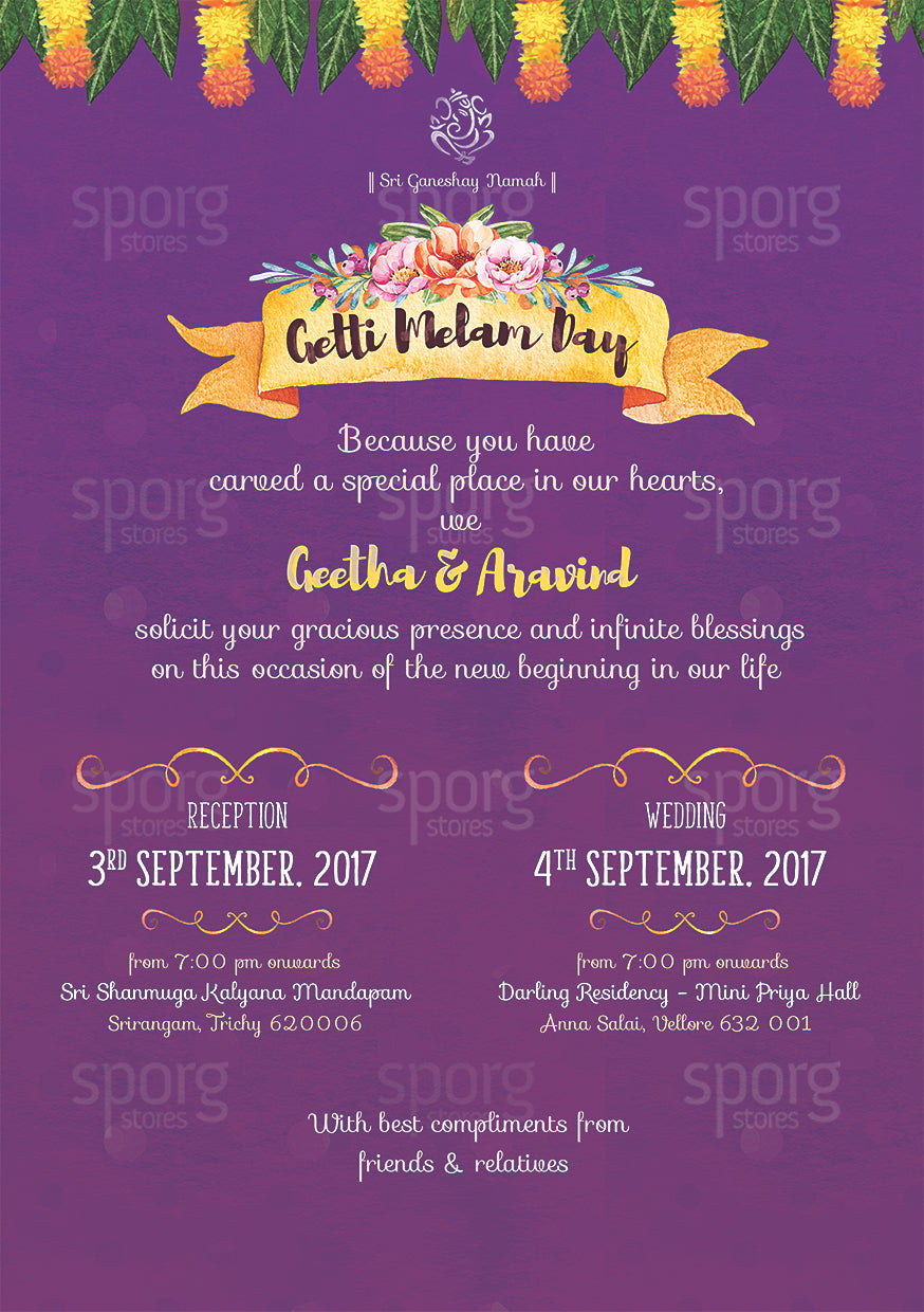 Illustrated Tamil Brahmin Wedding Invitation Sporg Stores