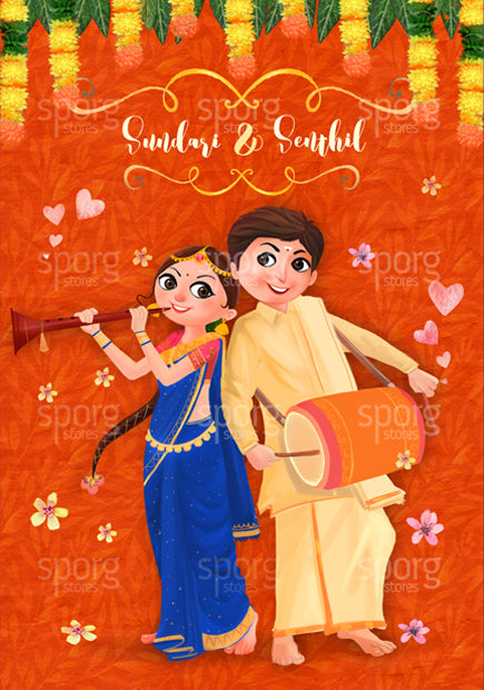 illustrated tamil hindu wedding invitation design