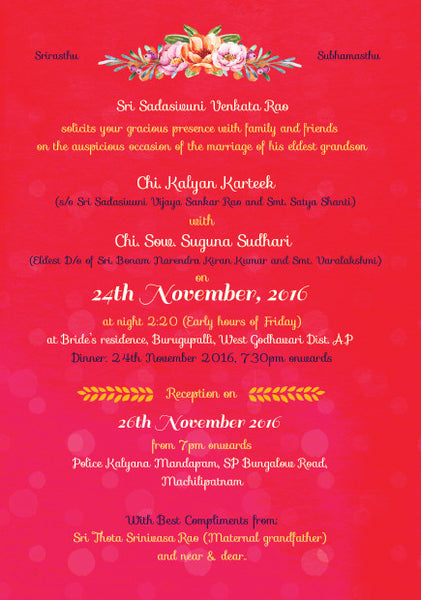 Illustrated Telugu Brahmin Wedding Invitation
