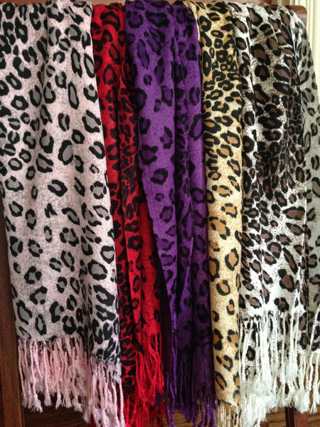 red purple pink leopard animal print pashmina wrap scarf