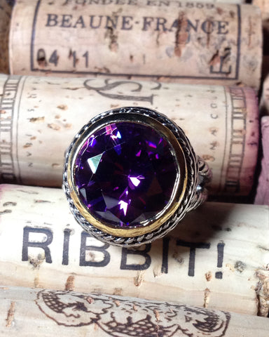 Amethyst Crystal Cable Ring - Round