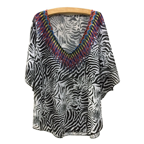 Animal Print Swim Coverup Blouse