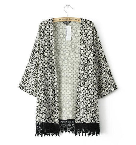 Black and White Geometric Floral Crochet Trim Kimono